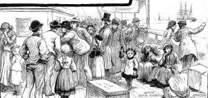 Emigrants queuing for berths on ship leaving from Gravesend
