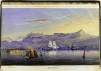 A watercolour illustration of the harbor, Mauritius in 1852. Painting by John Vine Hall of the SS Calcutta, National Maritime Museum, Greenwich, London.
