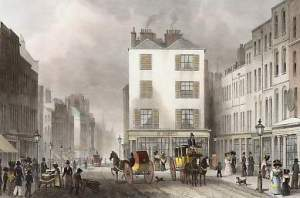 "Illustration: Middle Row, Holborn 1830. A study by Thomas Shepherd of Middle Row, a detached group of buildings that used to stand on Holborn Originally produced for series ""London and its Environs in the Nineteenth Century. (1829-1832)""."