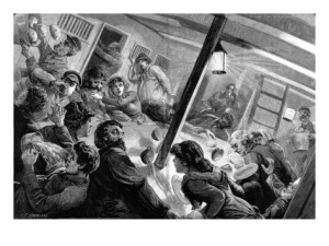 The saloon of an emigrant ship during a storm in the Bay of Biscay. Source: London Illustrated News