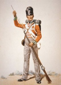 SOLDIER OF THE 69TH FOOT LOADING HIS 'BROWN BESS' MUSKET IN 1815
