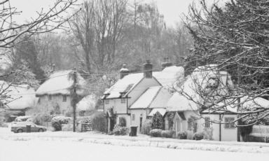 Amport village in the snow