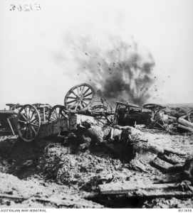 The violence of a bursting shell on the Western Front. [AWM EO1265B]