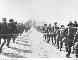 Troop on a desert march in Egypt. Source: Trove, National Library of Australia