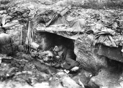 An Australian soldier sleeping in trench during the battle at Bullencourt