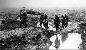 Mud, cold and wet, stretcher bearers take wounded to safety. Source: Ghosts of WW1 remembered at Yamba exhibition. 702 ABC