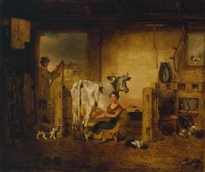 Interior of a Barn with a Milkmaid and Farm Labourer c.1820 Benjamin Marshall 1768-1835 Bequeathed by Mrs F. Ambrose Clark through the British Sporting Art Trust 1982 http://www.tate.org.uk/art/work/T03432