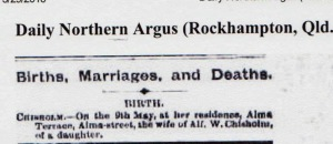 Birth Notice for Hazel Annie Chisholm inserted in Daily Northern Argus on 16 May 1892.