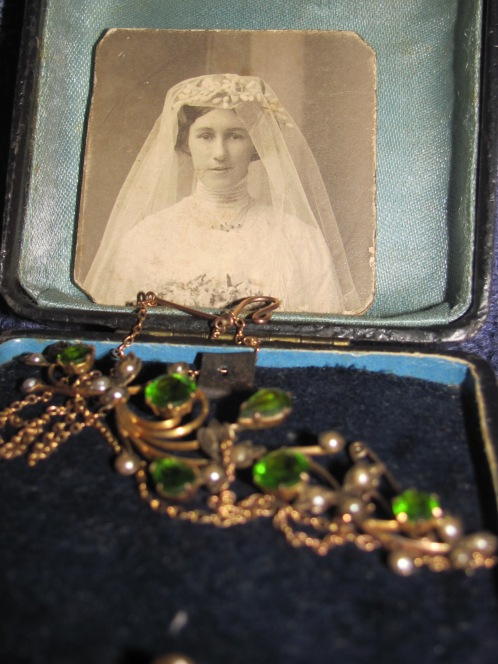 Bridal photo and wedding gift from the groom to the bride. Biggs family private collection. Held by C M McGregor