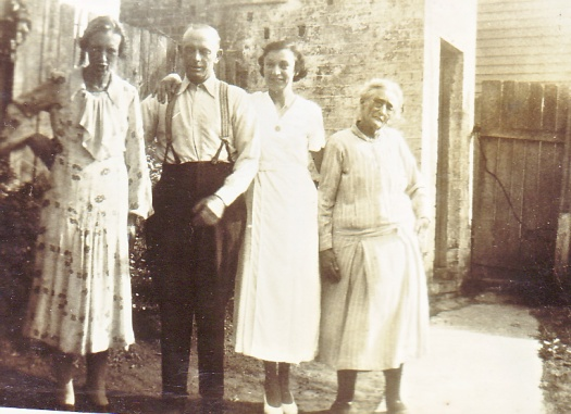 From left, Hazel Annie, Jack Doherty, her daughter, Hazel Edith, her mother Sarah Chisholm in the backyard of their home in Leichhardt circa 1930. Biggs Family Private Collection. Original held by C M McGregor. Digital copy taken by C M McGregor 2016