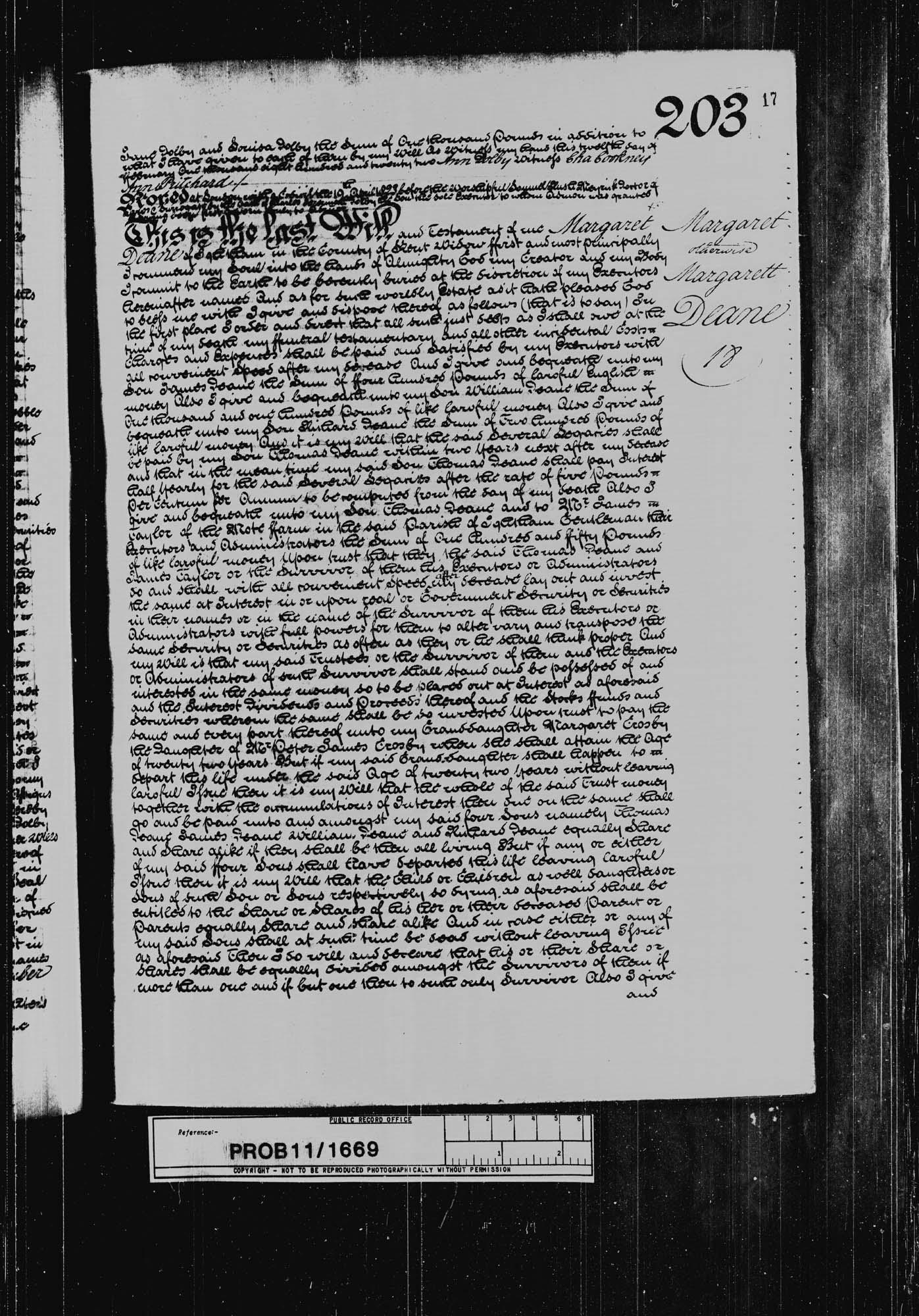 Will of Margaret Deane