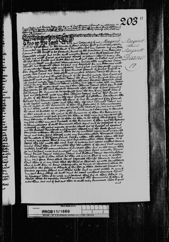 Will of Margaret Deane